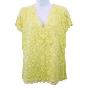🌷Emma James Lace Front Lemon Lime Blouse Size XL